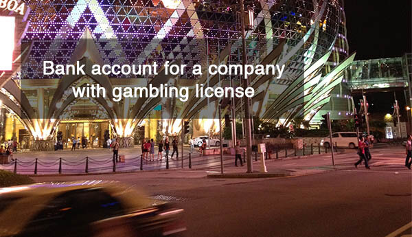 Bank account for a company with gambling license