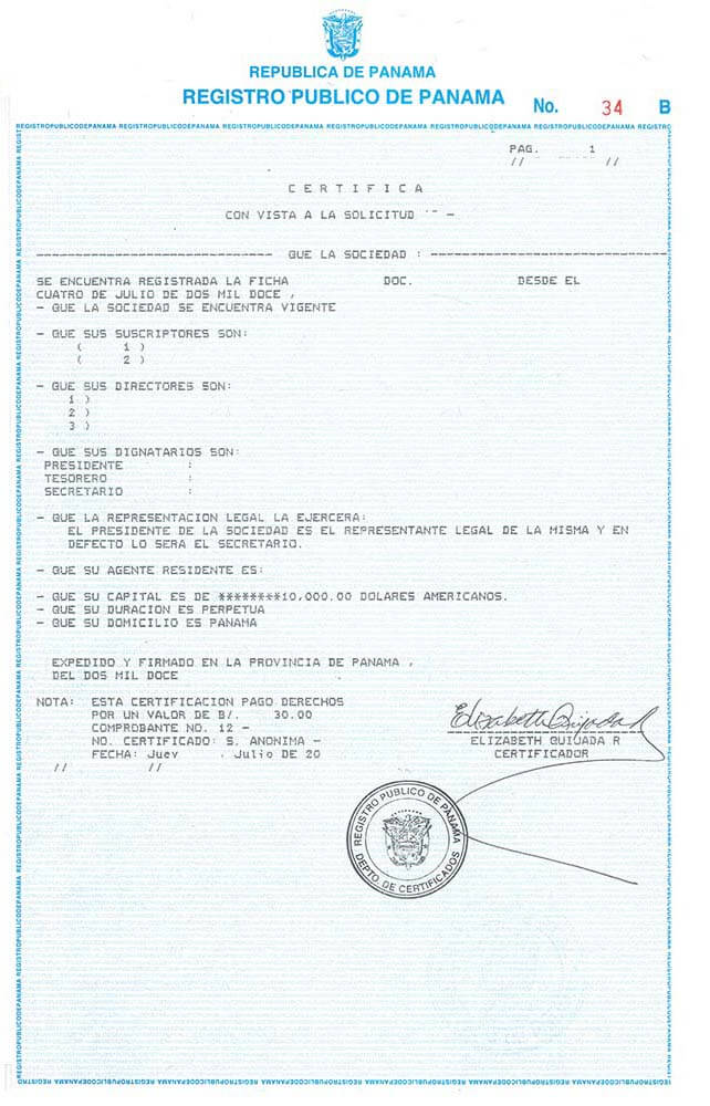 Certificate of incorporation in Panama