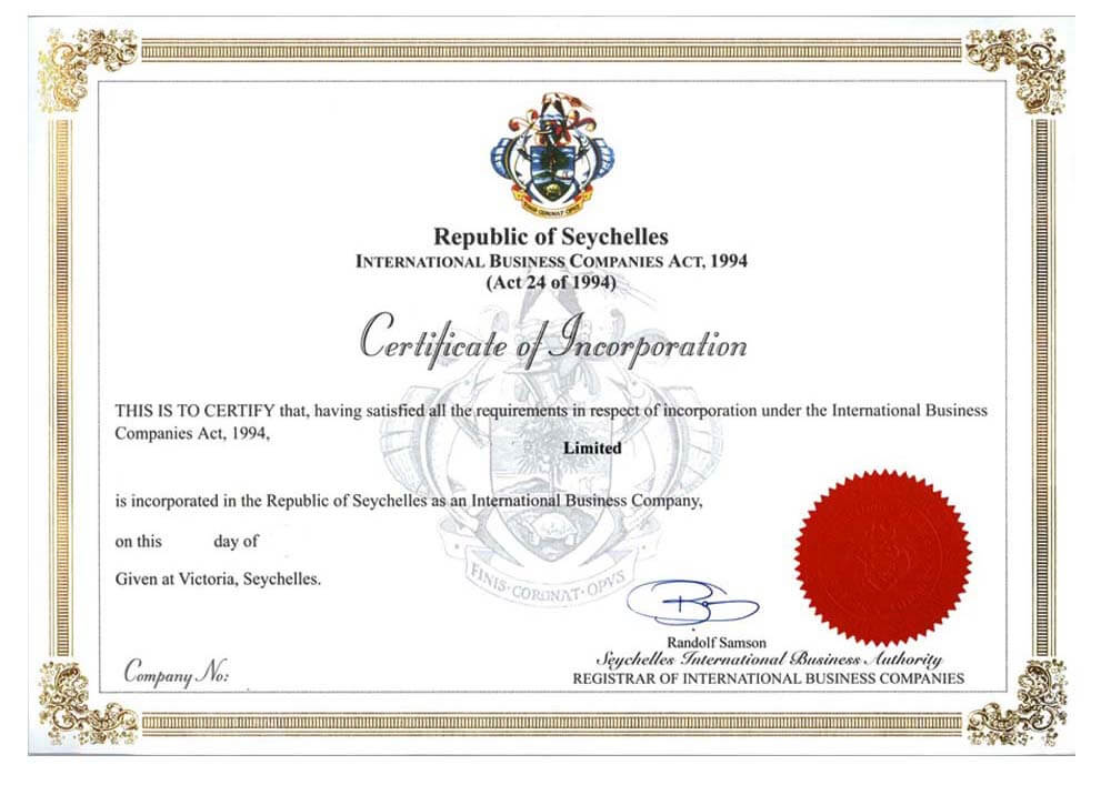 Certificate of incorporation in Seychelles