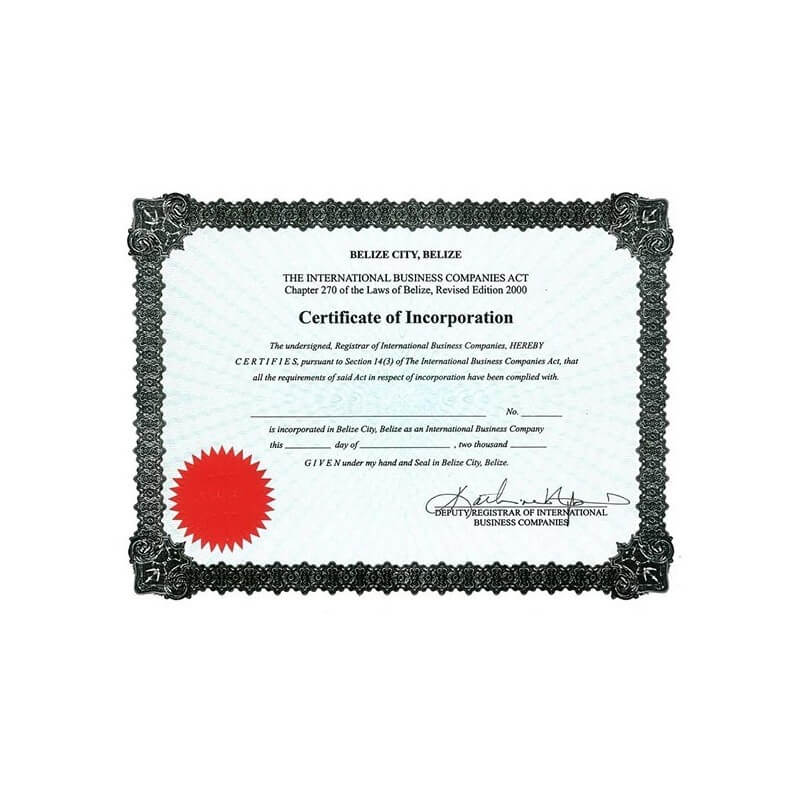 Certificate of incorporation Belize