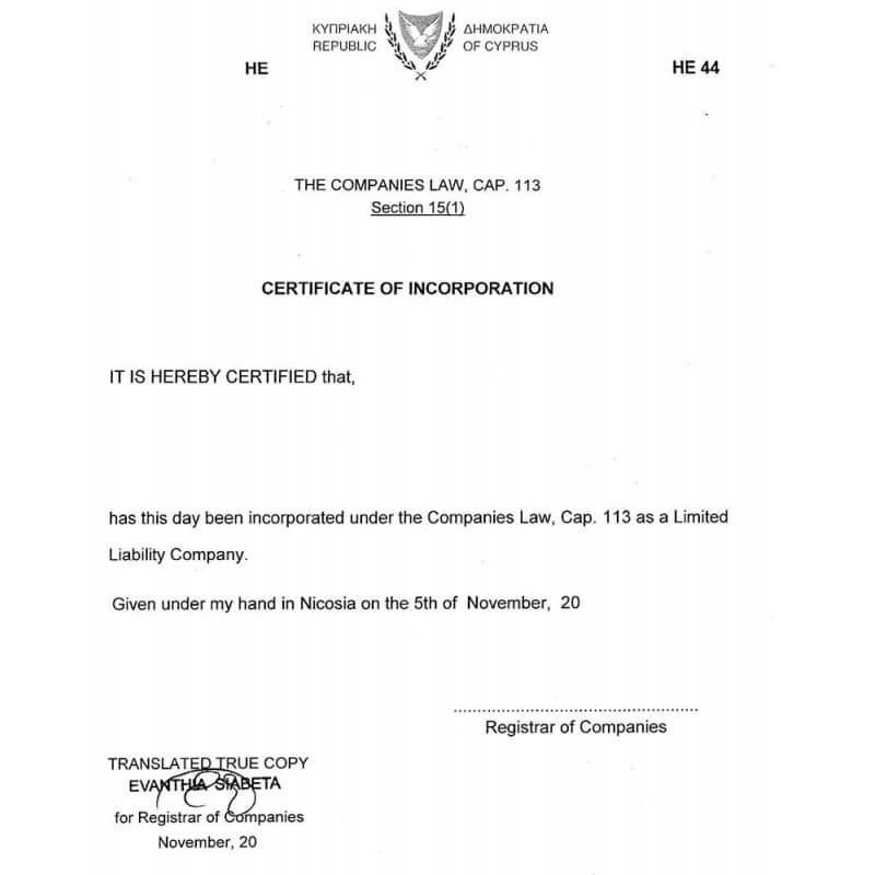 Certificate of incorporation Cyprus