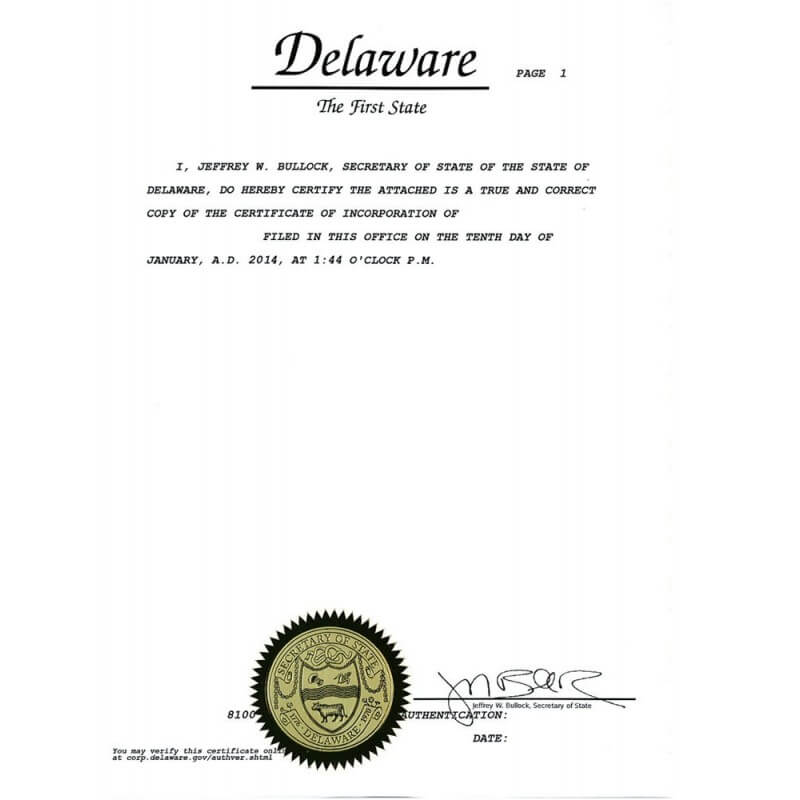 Certificate of incorporation Delaware