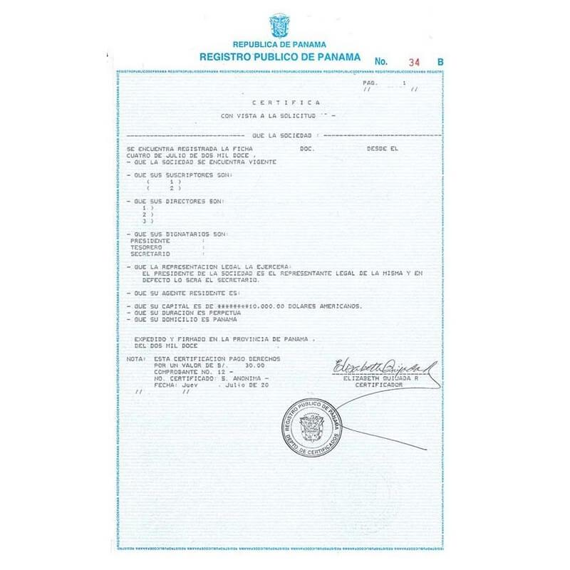 Certificado de incorporación panamá