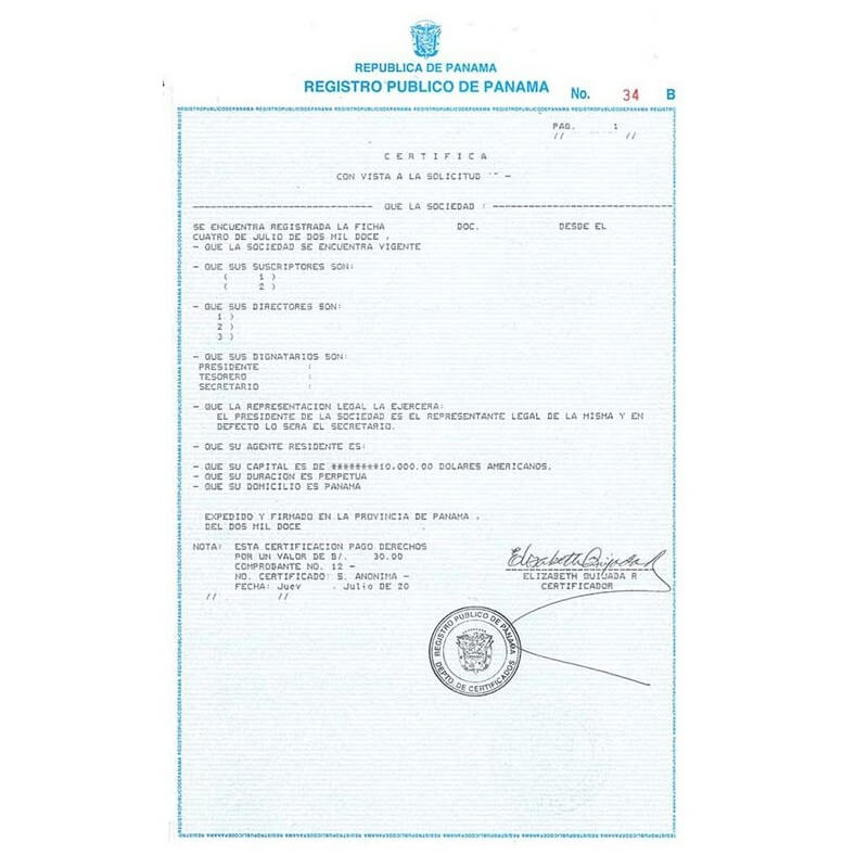 Certificate of incorporation panama