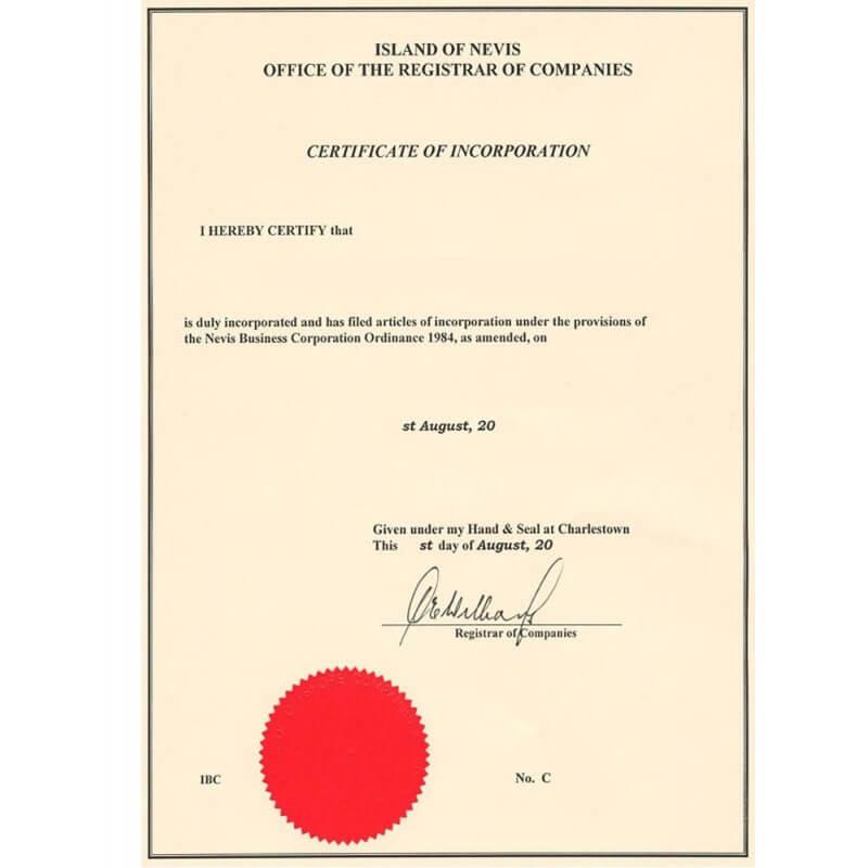 Certificado de incorporación LLC San Cristóbal y Nieves
