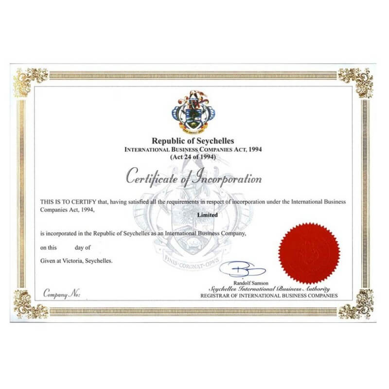 Certificate of incorporation Seychelles