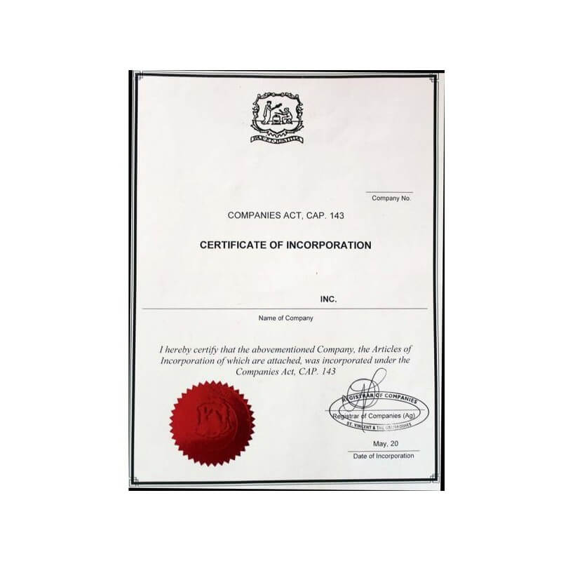 Certificate of incorporation Saint Vincent and the Grenadines