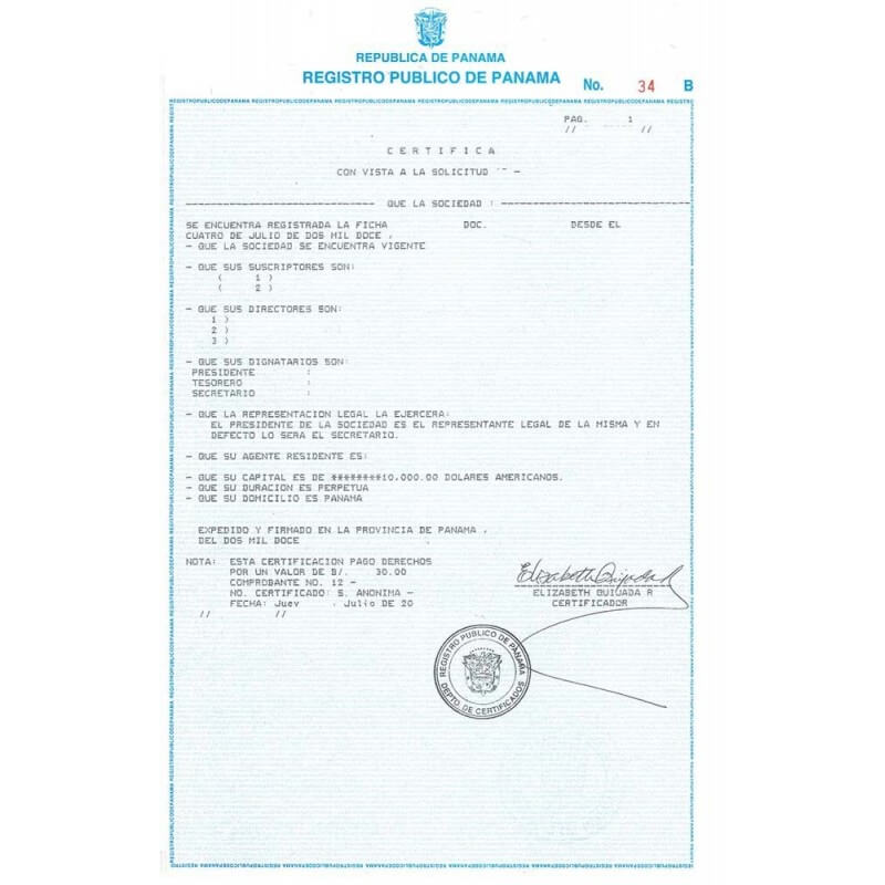 Certificate of incorporation of a private foundation in Panama