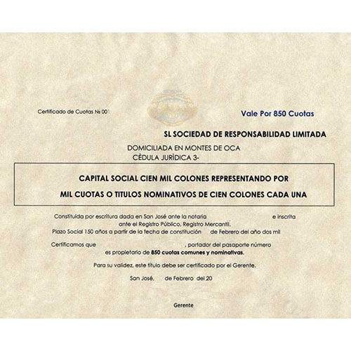 Certificate of incorporation Costa Rica