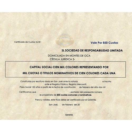 Certificate of incorporation Costa Rica